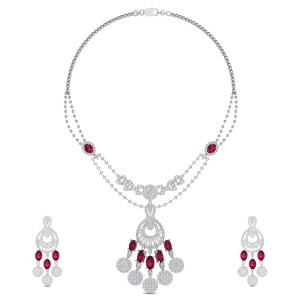 Kamya Diamond Drop Ruby Necklace Set