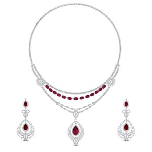Kannika Diamond and Ruby Necklace Set