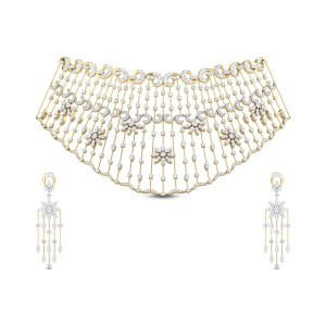 Lajila Floral Diamond Necklace Set