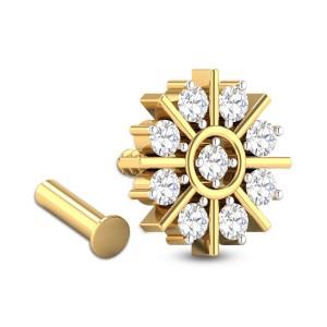 Medhavi Nine Stone Floral Diamond Nosepin