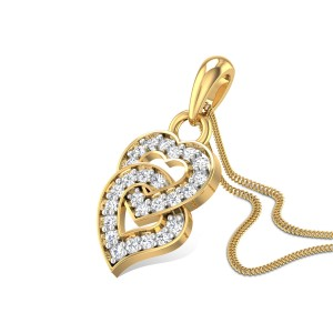 Flaming Iris Heart Diamond Pendant