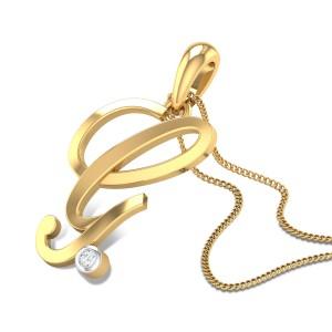Italic Initial G Diamond Pendant
