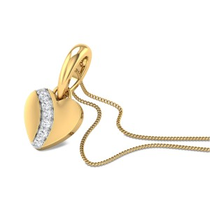 Little Hearts Diamond Studded Gold Pendant DJPN5603