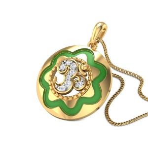 Om Yantra Diamond Pendant