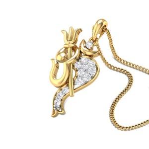 Om Trisool Diamond Pendant