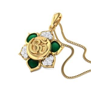 Floral Aum Diamond Pendant
