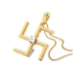 Diamond Swastik Pendant