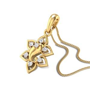 Cashel Floral Ganesha Diamond Pendant