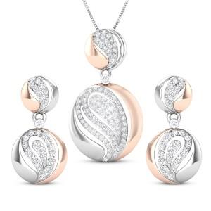 Jenya Two Tone Diamond Pendant Set