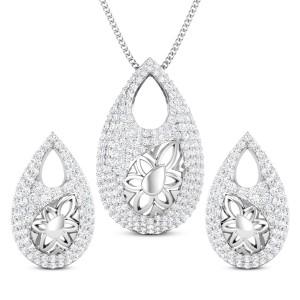 Keya Two Tone Diamond Pendant Set