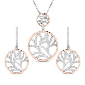 Ladli Two Tone Diamond Pendant Set