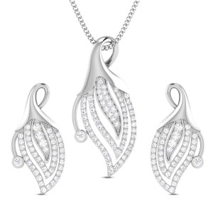 Floral Bud Diamond Pendant Set