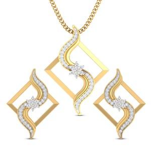Ruhi Floral Diamond Pendant Set
