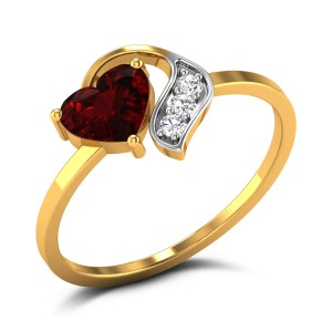 Buy Naolin Red Heart Diamond Ring in 1.79 Grams Gold Online
