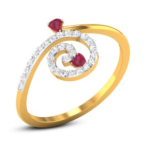 Red Hearts Diamond Ring