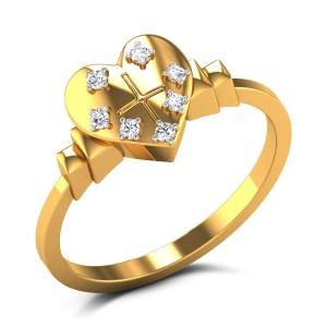 Cross Heart Diamond Ring
