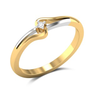 Columbine Diamond Studded Gold Ring DJRN5161