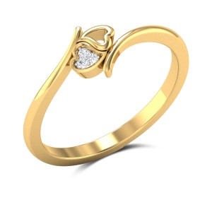 Sweet Love Diamond Studded Gold Ring DJRN5218