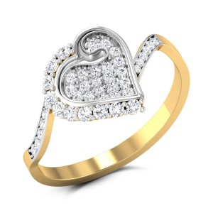 wavy Heart Diamond Ring