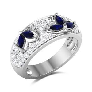 Aaoka Sapphire and Diamond Band Ring