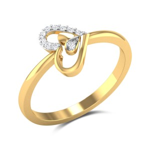 Buy Fused Hearts Diamond Ring in 1.88 Gms Gold Online