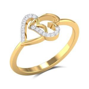 Buy Interlocking Hearts Diamond Engagement Ring in 1.88 Gms Gold Online