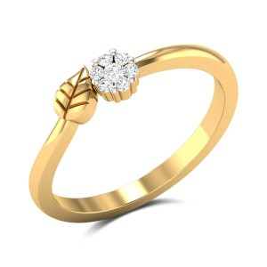 Seven Stone Flower and Leaf Diamond Ring