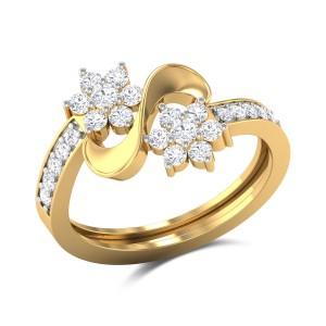 Zackery Wavy Floral Diamond Ring