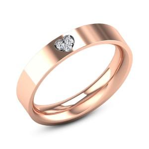 Plain Band Heart Diamond Ring