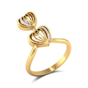 Netha Diamond Dual Heart Ring