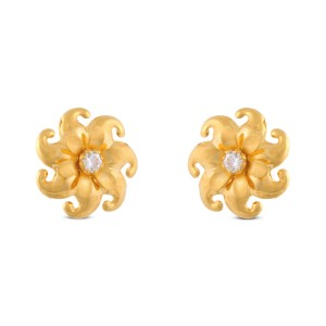 Lybian Floral Gold & CZ Stud Earrings