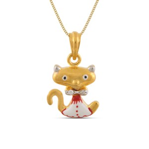 Meow Cat Kids Gold Pendant