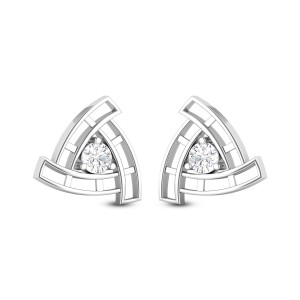 Aamodh Triangular Solitaire Stud Earrings
