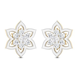 Sarvin Floral Solitaire Stud Earrings