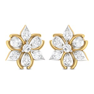 Sharvil Floral Solitaire Stud Earrings