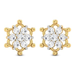Udbhata Floral Solitaire Stud Earrings