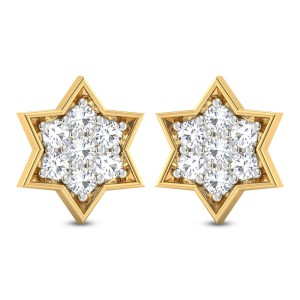 Vikasith Floral Solitaire Stud Earrings