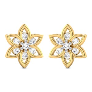 Vyas Floral Solitaire Stud Earrings