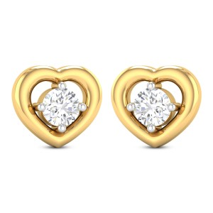 Violina Hearty Solitaire Stud Earrings
