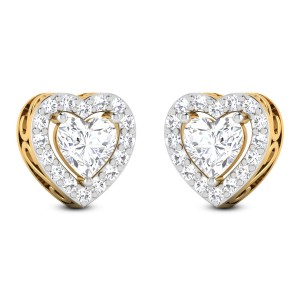 Linwood Solitaire Heart Studs