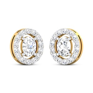 Calantha Yellow Gold Solitaire Stud Earrings