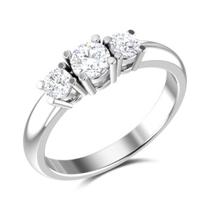 Frosty Morning Three Stone Solitaire Ring