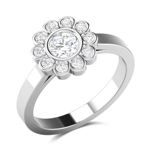 Blooming Flower Solitaire Ring