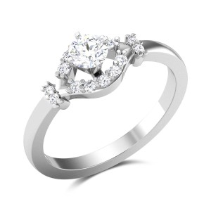 Floral Bow Solitaire Ring