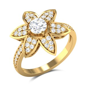 Chakshani Floral Solitaire Ring