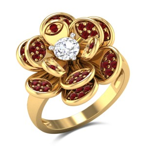 Channaya Floral Solitaire Ring