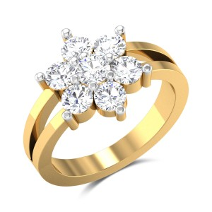Dangelo Floral Split Band Solitaire Ring