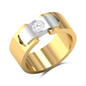 Leif Two Tone Solitaire Ring