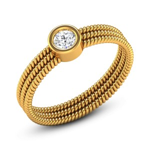 Three Layer Braided Solitaire Ring