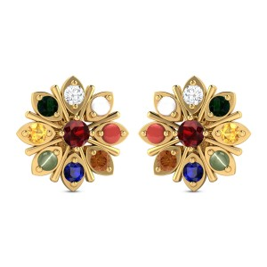 Blooming Navratna Orchid Gemstone Earrings